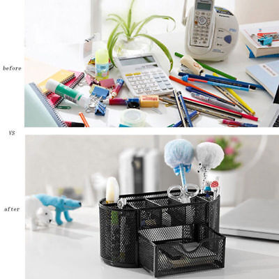 9 Compartment Desk Organizer Desktop Office Metal Storage Rack Pen Pencil Holder