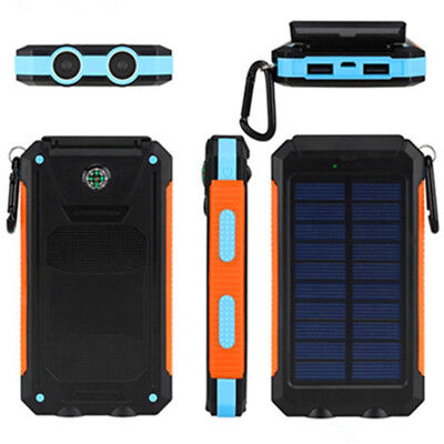 Solar Mobile Power Bank 300000mAh Portable Phone Charger External Backup Battery