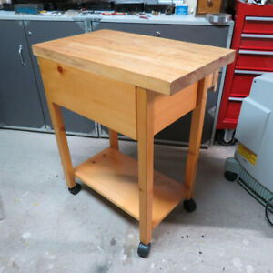 Mobile Butcher Block Table - spalted maple surface