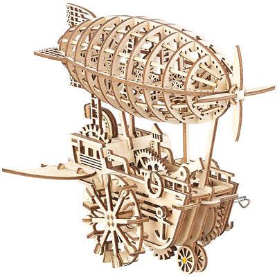 3D-Bausatz: Aufziehbares Holz-Luftschiff im Steampunk-Stil, 349-teiliger Bausatz