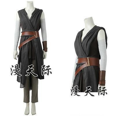 Star Wars 8 The Last Jedi Rey Cosplay Kostüm Damen Halloween Costume neu