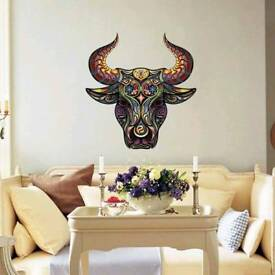 Bull Head Horns Wall Art Vinyl Mural Sticker Living Bedroom Collage Waterproof Very Large