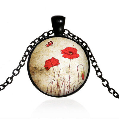 Red Flower Photo - Red Poppies Flower Black Dome glass Photo Art Chain Pendant Necklace #TUO454
