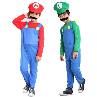 Halloween Costumes Super Mario Luigi Brother Costume for Kids Children Boys Girl - Halloween Costumes For Bros