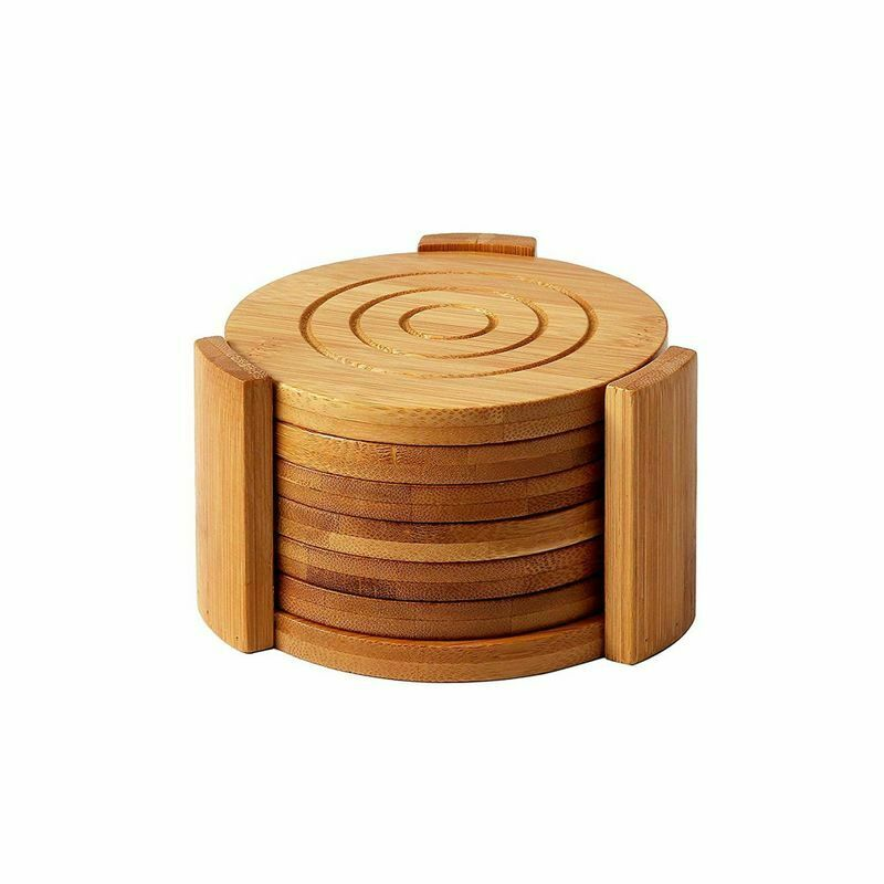 """6-pack Set Bamboo Wooden Coaster With Holder, Round Cup Coasters, Tan, 4.3"""""""