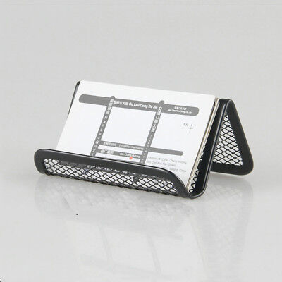 1pc Business Card Display Holder Office Desk Organizer Black Metal Stand Cases