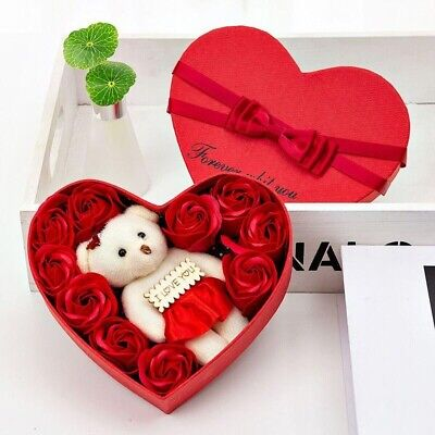 Valentine's Day 10 Flowers Soap Flower Gift Rose Box Bears Bouquet Festival Gift Rose Bouquet Box