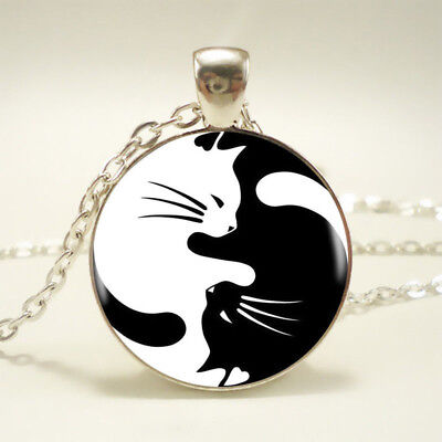 Tai Chi Yin Yang Cat Pendant Choker Statement Silver Necklace For Women - Cat Choker