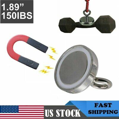 150lb Super Strong Neodymium Fishing Magnet Steel Thick Round Eyebolt Home Mount