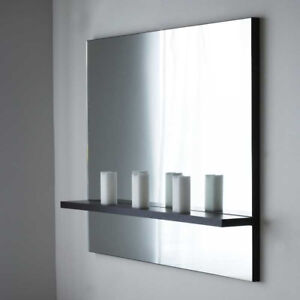 Beautiful Large wall mirror with built in charcoal wood shelf