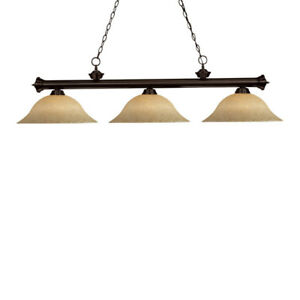 Pool table or bar light fixture with three opaque glass shades