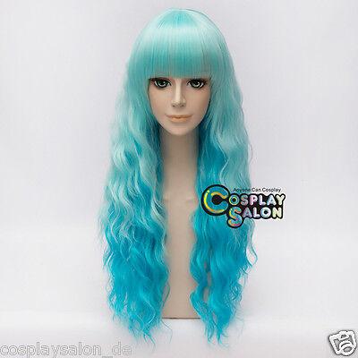 Anime Cosplay Wig Harajuku Blau 60cm Perücke Lolita Halloween Curly Hitzefest  ()