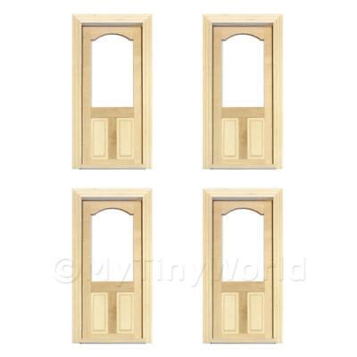 4X Casa de Muñecas Decorativos Madera Puerta Con Vidriado Superior Panel