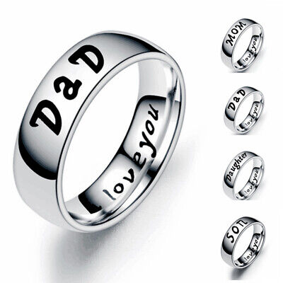 Family Ring Jewelry (Stainless Steel Lettering Family Member Couple Ring Simple Jewelry Gift Size5~13 )