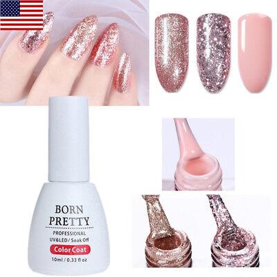 10ml Rose Gold Glitter Nail Gel Polish Sequins Soak Off Manicure DIY BORN (Gel Rose)