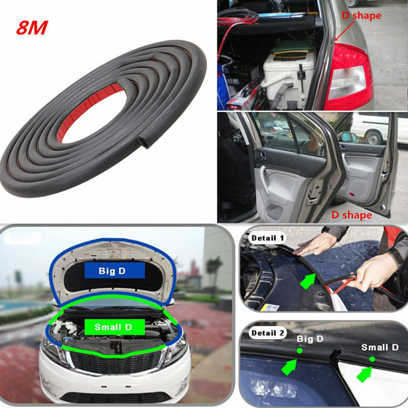 D - Shape 8M Car Suv Motor Door Window Edge Rubber Sealing Strip Weather Strip