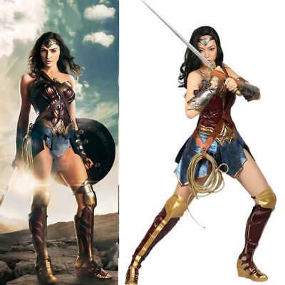 Avengers Wonder Woman Full Set Cosplay Costume Halloween Adult Leather Dress - Woman Avenger Costumes