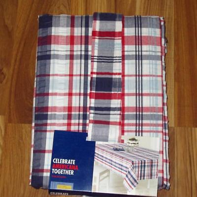 ALL SIZES Plaid Fabric Patriotic Tablecloth~Red/White/Blue NEW - Blue Fabric Tablecloth