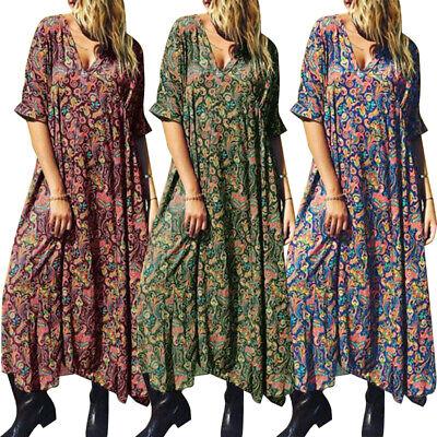 ZANZEA 8-24 Women Vintage Bohemian Printed Floral Dress Flare Long Maxi Kaftan Vintage Womens Flares