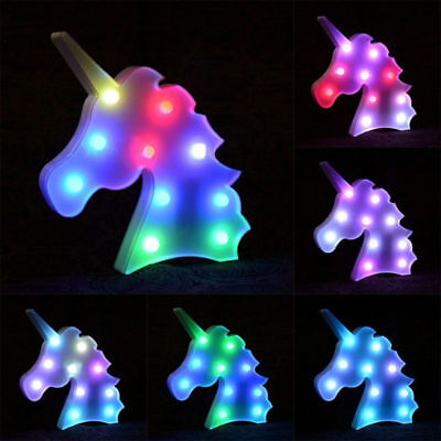 Colorful Unicorn Head LED Night Light Up Table Lamp Kids Bedroom Xmas Decor UK