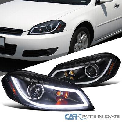For 06-13 Impala 06-07 Monte Carlo Black LED Strip Bar Projector Headlights Pair