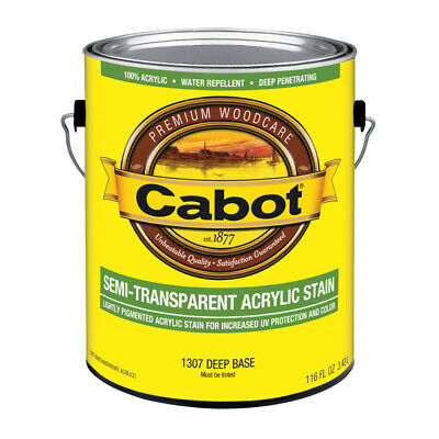 Cabot  Semi-Transparent  Tintable Deep Base  Water-Based  Acrylic  Stain  1 gal. Deep Base Stain