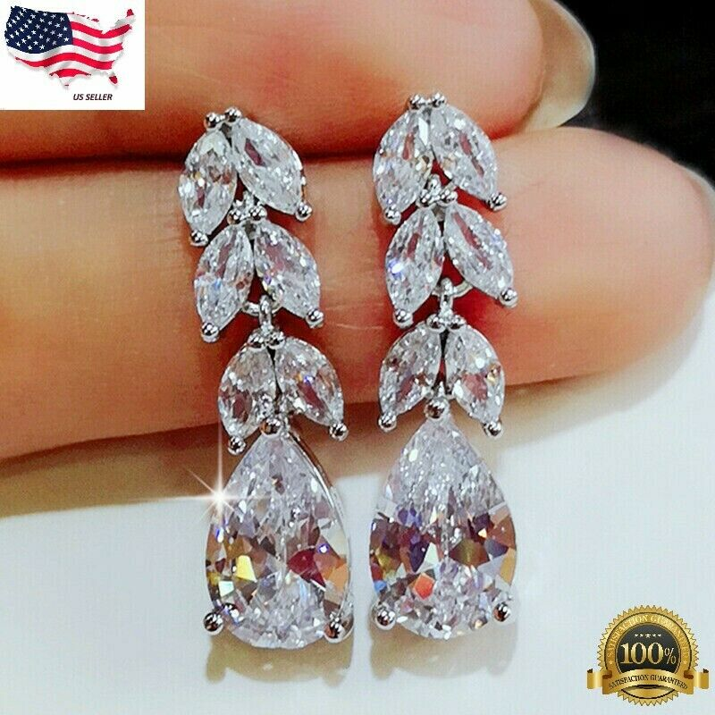 Jewellery - Gorgeous 925 Silver Drop Earrings for Women Jewelry White Sapphire A Pair/set