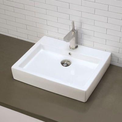"DecoLav 22-1/4"" Ceramic White Sink Rectangular Vitreous China Boat 1444-CWH"