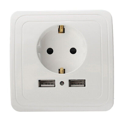 Placa de cargador de pared con puerto USB 2 de enchufe doble de la-UE 1 PCS