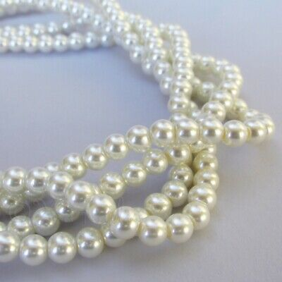 Faux Pearl Beads Bulk (White Imitation Pearl Beads 6mm Bulk Glass Pearl Beads G2540 -150, 300 Or)