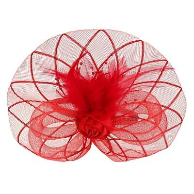 Flower Feather Fascinator Headband Hat Wedding Prom Ladies, Red Y3E1