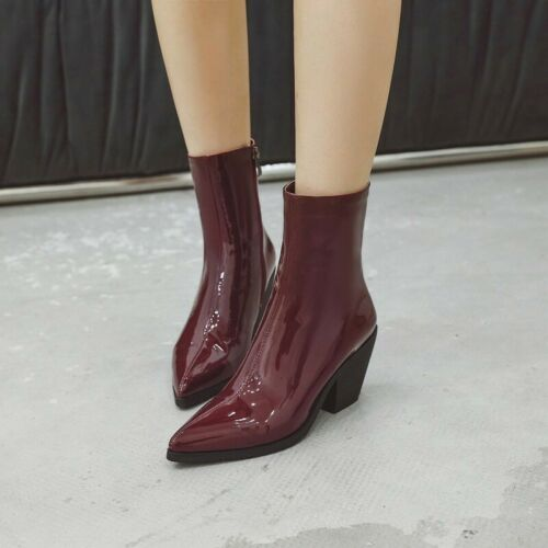 Western Womens Cowboy Pointy Toe Chunky Heel Chelsea Ankle Boots Big Size 34-45