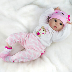 Lifelike Preemie Newborn Baby Floppy Hair Realistic Reborn Baby Girl Doll 22inch