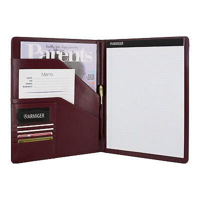 Armiger Executive Bonded Leather Professional Padfolio With Notepad - Burgundy