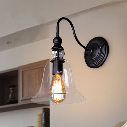 Bell Outdoor Post Lights: Vintage Industrial Wall Light Bell Shape Glass Elegant