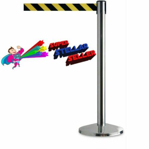 Safety Crowd Control Queue Post Retractable Belt Stanchion Security Barrier 2-Pc