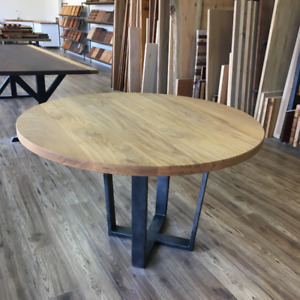 Solid white oak round dining table