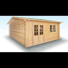 High Quality 5m x 5m (17' x 17') 44 mm Log cabin