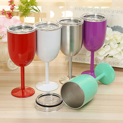 - Wine Glass Colored Double Wall Insulated Stainless Steel Metal Goblet Wine Mug