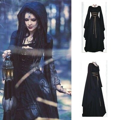 Womens Medieval Halloween Gown Dress Ladies Party Outfits Gothic Witch Costume](Halloween Women Outfits)