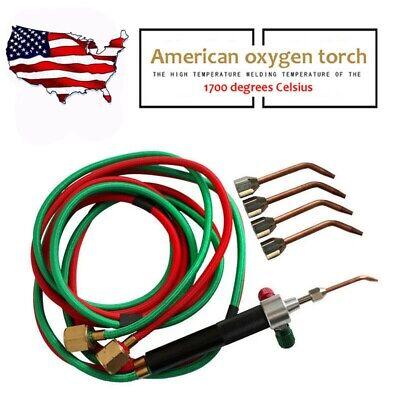 Us Acetylene Butane Welder Oxygen Gas Welding Torch Gun Cutting Kit W 5 Nozzles