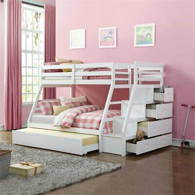 Bowery Hill Twin over Full Bunk Bed with Storage Ladder and
