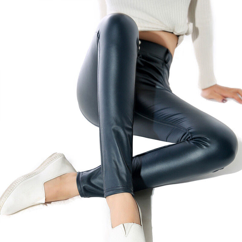 Women Sexy PU Leather Yoga Pants Hip Push Up Workout Stretch Leggings Trousers 25