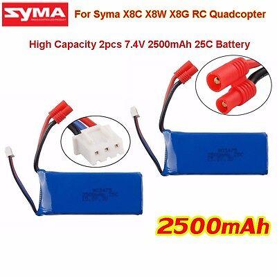 Syma X8C X8W X8G RC Quadcopter Drone Parts of 2x 7.4V 2500mAh 25C Power Battery