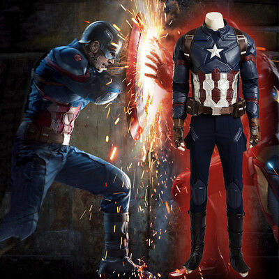 Deluxe Captain America Costume (Captain America 3 Steve Rogers Cosplay Costume Deluxe Outfit Custom Free Fast)