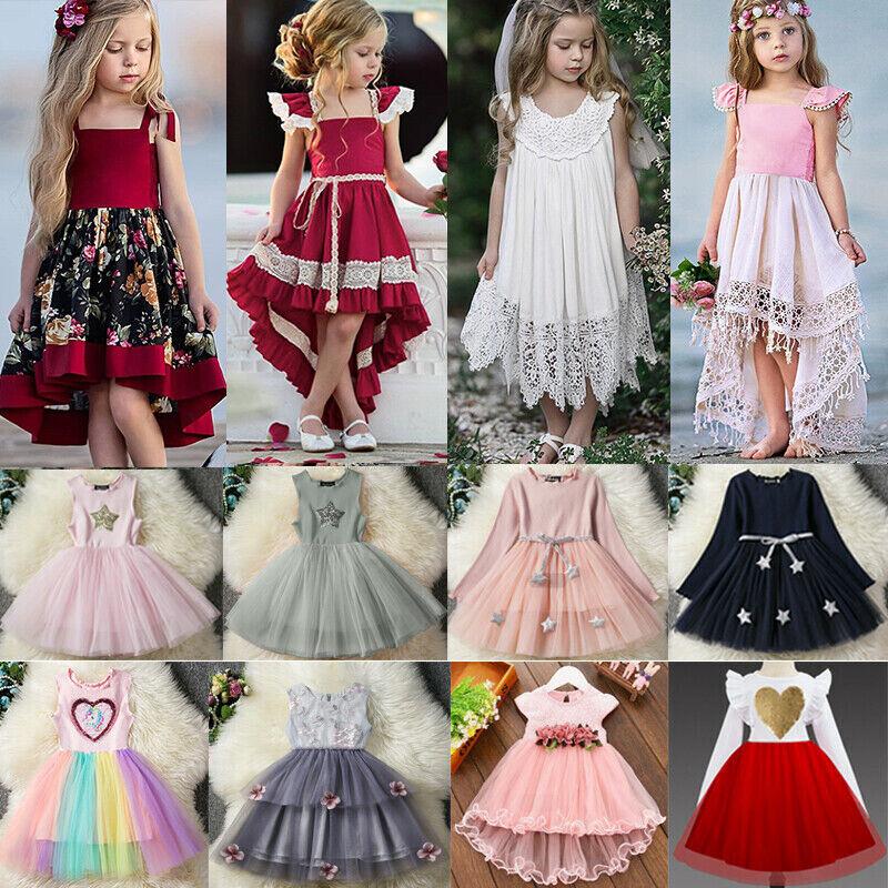Kinder Mädchen Baby Blume Prinzessin Party Hochzeit Tutu Tüll Festkleider Kleid