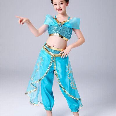 Kinder Aladdin Kostüm Prinzessin Jasmin Cosplay Outfit Mädchen Halloween Fa - Prinzessin Jasmin Kostüm Kind