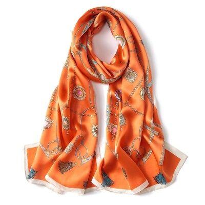 100% Chinese Silk Scarf Long  Nature Pure Silk Shawl Jewelry Pattern 67