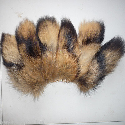 10pcs/lot Real Large Natural Raccoon Tail Fur Keychain Tassel Bag Tag Charm Gift for sale  Shipping to Canada