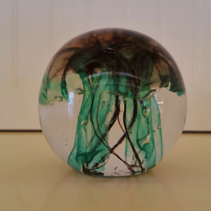 Hand Blown Glass Jellyfish Paperweight Green- - Signed